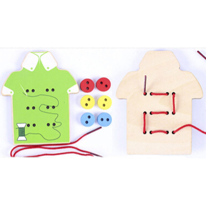 Montessori Educational Toys Children Beads Lacing Board Wooden Toys Toddler Sew On Buttons Early Education Teaching Aids