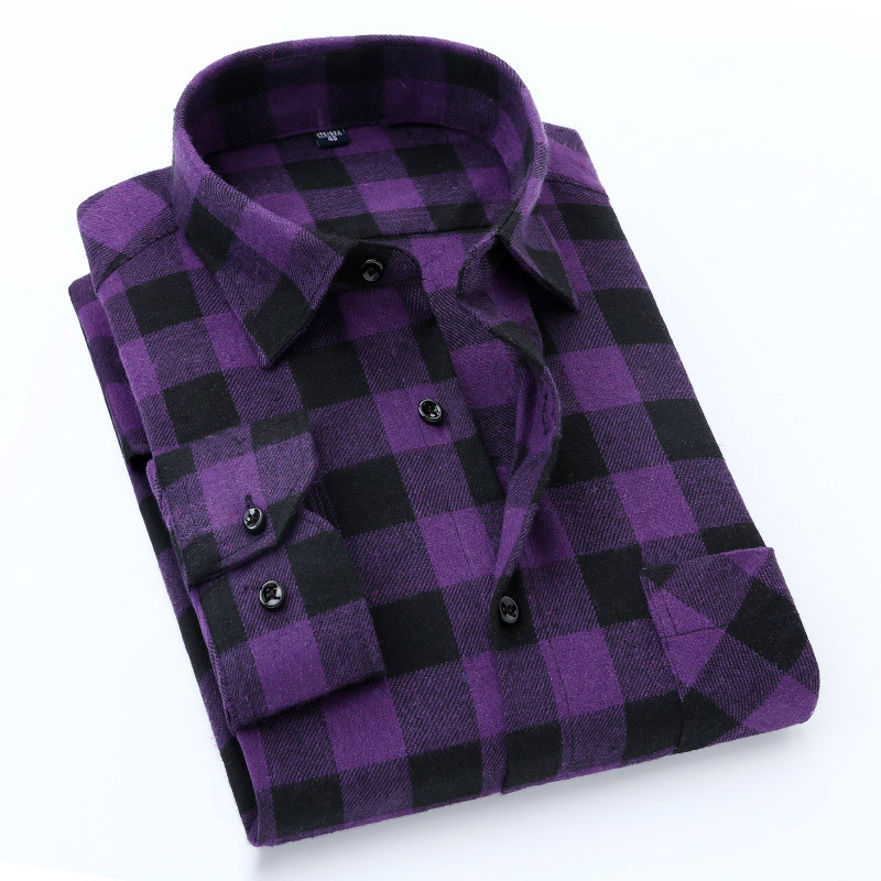 Quality Flannel Plaid Men Shirt Cotton Spring Autumn Casual Long Sleeve Dress Shirts Soft Comfort Slim Fit Button Down Clothes
