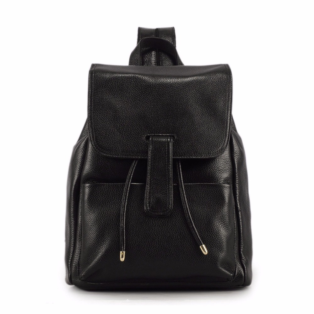 Women Genuine Leather Korean Style Backpack Simple Top Layer Cowhide Drawstring Travel Bag Ladies Black Casual Packsack