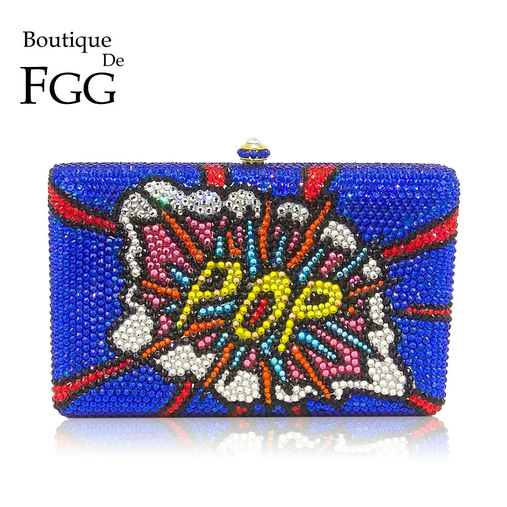 Boutique De FGG Fashion Graffiti POP Letter Pattern Women Crystal Evening Bags Royal Blue Metal Clutches Wedding Handbag PurseBoutique De FGG Fashion Graffiti POP Letter Pattern Women Crystal Evening Bags Royal Blue Metal Clutches Wedding Handbag Purse