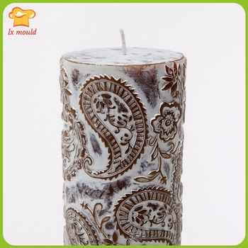 2016 models Perris carved candles silicone mold  large embossed cylindrical candle molds