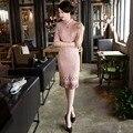 High QualityFashion Short Suede Women Cheongsam Dress Chinese Ladies Elegant Qipao Novelty Sexy Dress Size M L XL XXL 3XLF103030