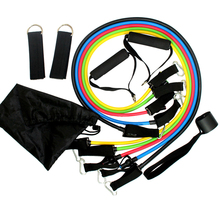 11pcs/Set Resistance bands exercise set fitness tube yoga pilates Latex Tubing Expanders Exercise Rubber Tubes FN