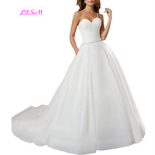 Spaghetti Straps Wedding Dress Beads Belt Bridal Gowns with Pocket  A-Line Sleeveless Sweep Train Vestido De Noiva