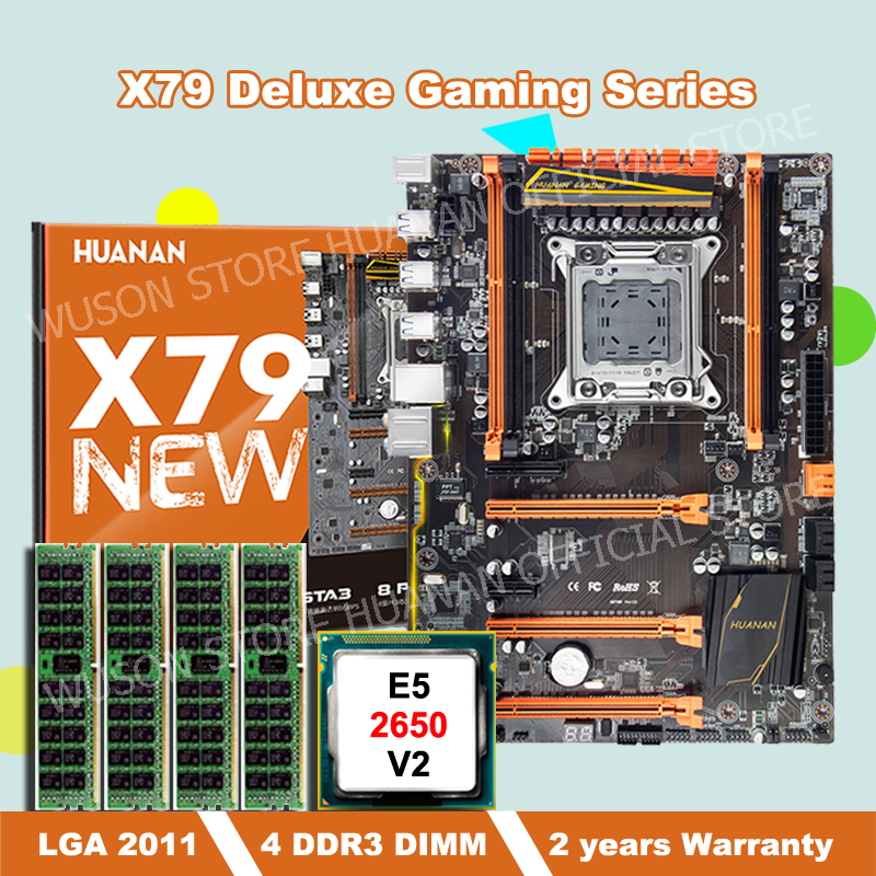HOT SALE!!!HUANAN deluxe X79 motherboard with Xeon E5 2650 V2 CPU and 32G(4*8G) DDR3 RECC RAM all be tested before shipping