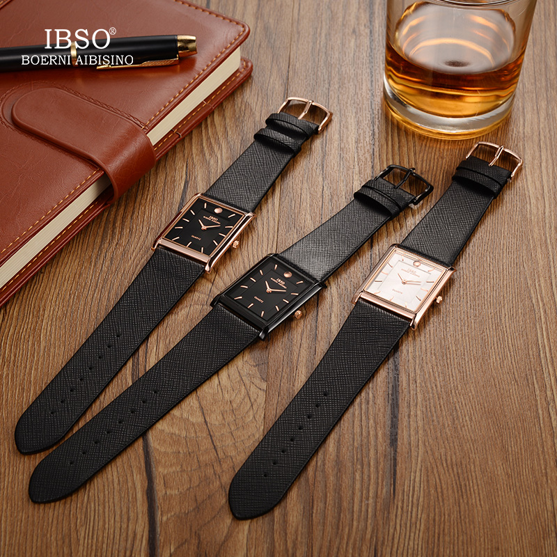 IBSO 7MM Ultra-thin Rectangle Dial Quartz Wristwatch Black Genuine Leather Strap Watch Men Classic Business New Men Watches 2019 Islamabad