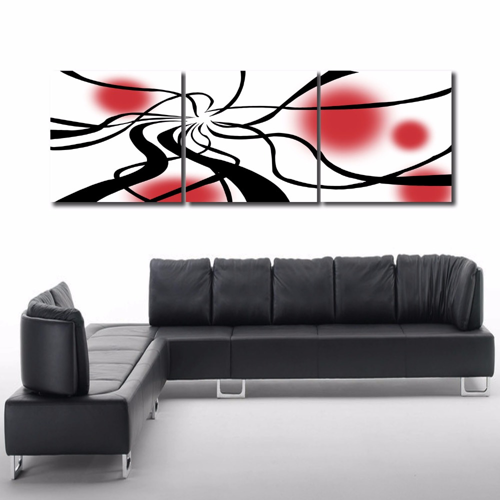 3 piece art set modern abstract black line red circle. Black Bedroom Furniture Sets. Home Design Ideas