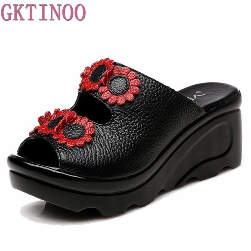 2017 Summer Women Shoes Wedges Slippers Platform Sandals Genuine Leather Handmade Flower Peep Toes Comfotable Women