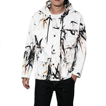 Mens Chinese Ink Painting Printing Loose Casual Hooded Jacket Male Spring Autumn Overcoat  Windbreaker Coat Plus Size M-5XL