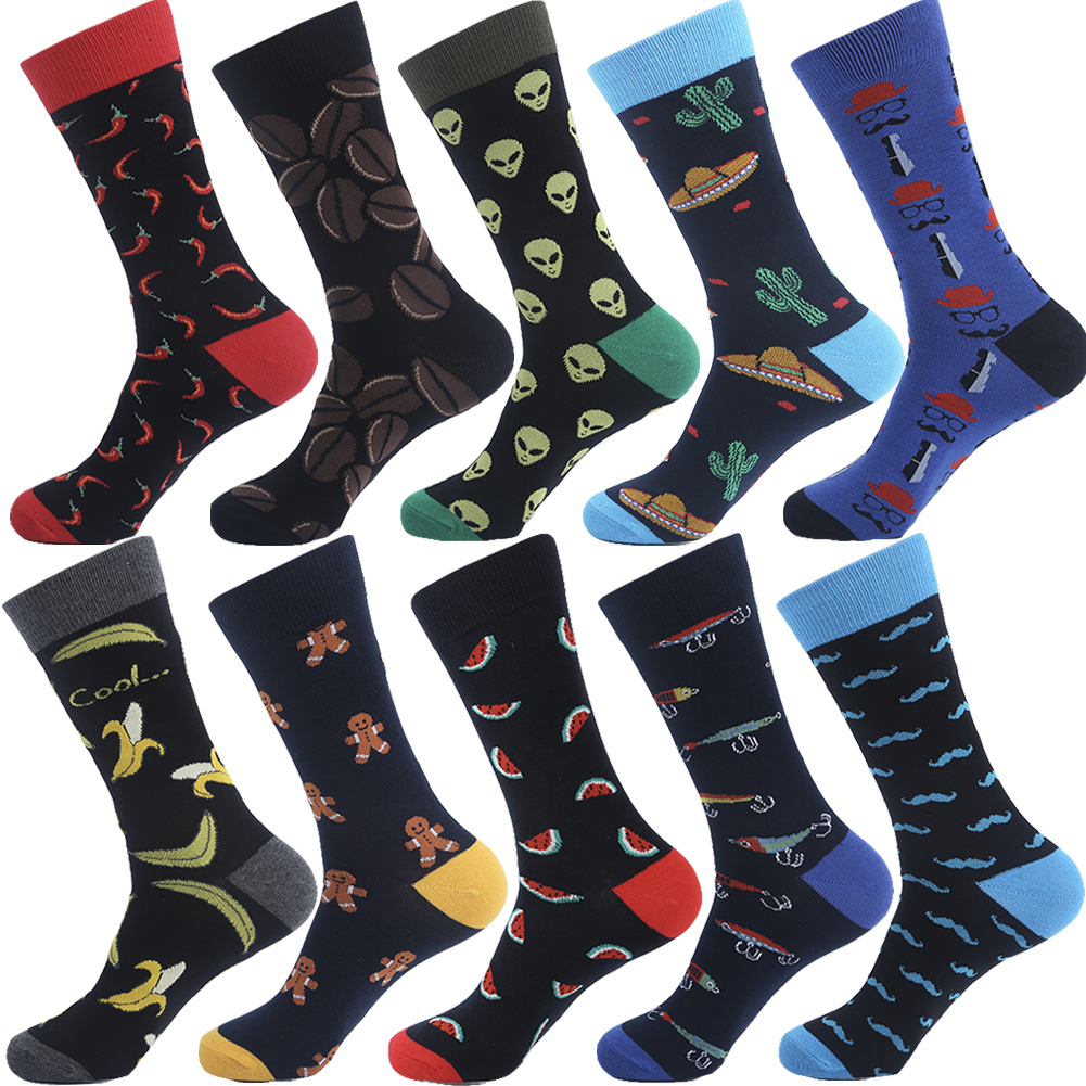 VPM Brand Cotton Men's Socks Funny Hip Pop Fruit Banana  Hot Pepper Coffee Beans Alien Long Cool Skate Sock For Men
