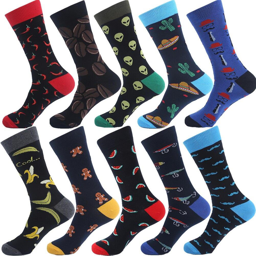 VPM Brand Cotton Men's Socks Funny Hip Pop Fruit Banana Hot Pepper Coffee Beans Alien Long Cool Skate Sock for Men