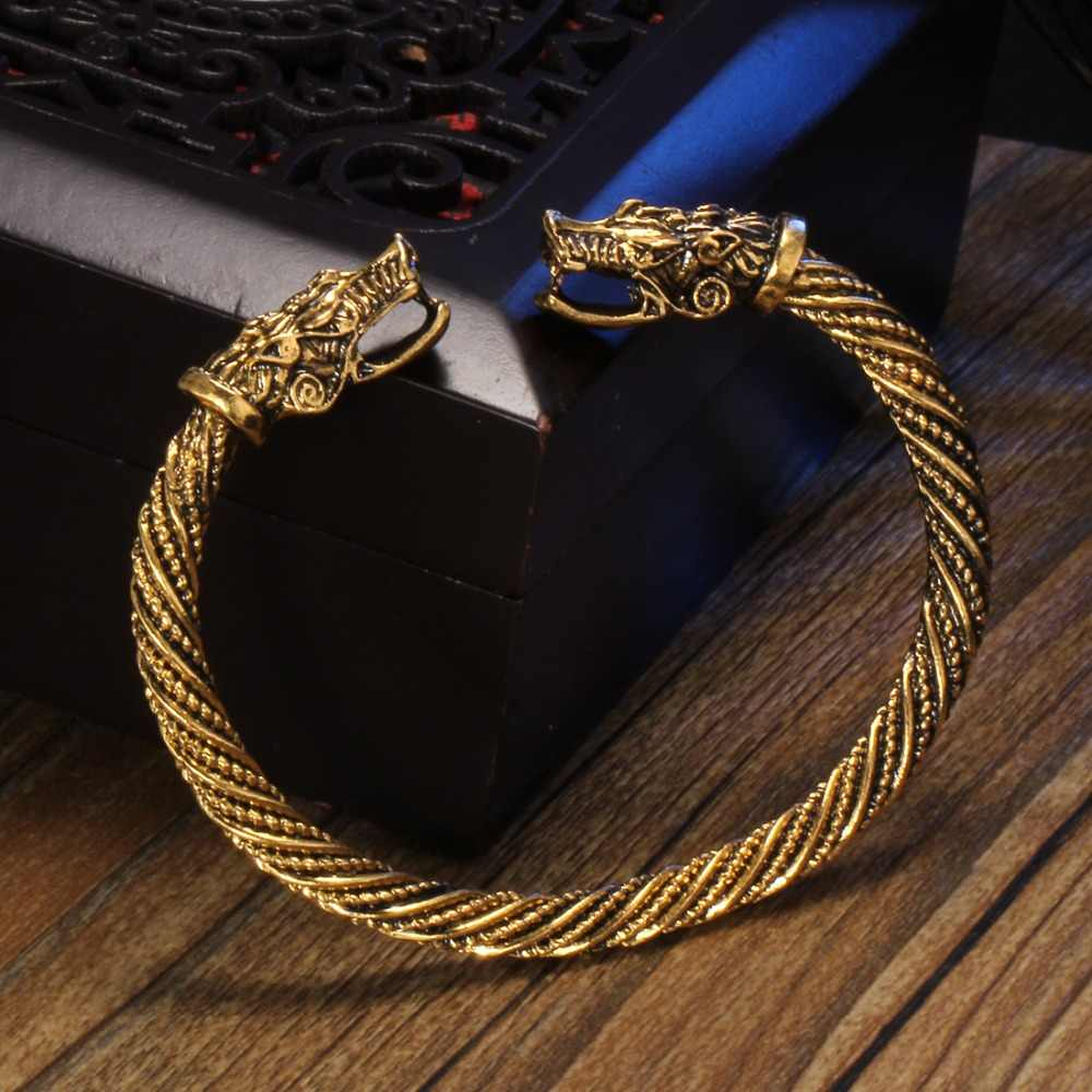 Hesiod Vintage Viking Wolf Head Cuff Bracelet Bangles Men Stainless Steel Bracelet Punk Indian Jewelry Fashion Accessories