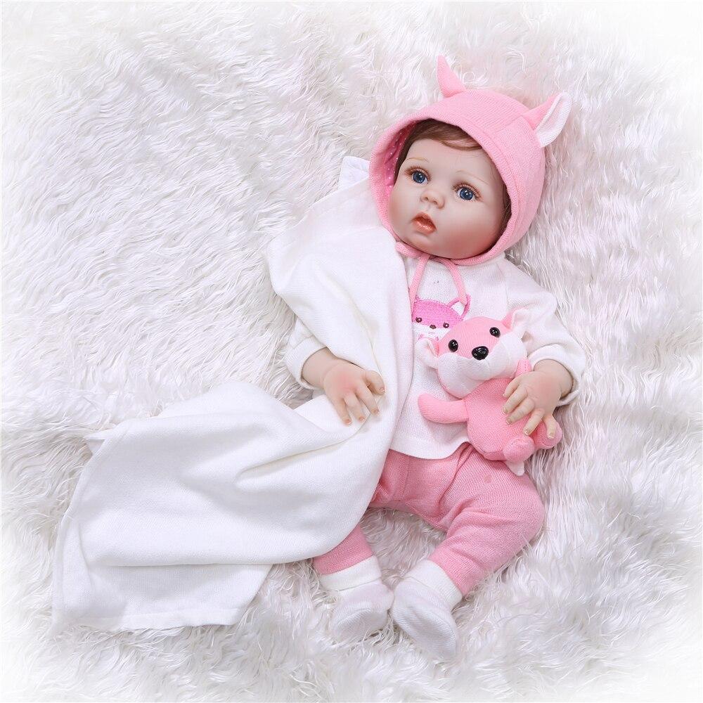 NPK 55 cm Réaliste plein silicone Reborn Baby Dolls Fille Silicone Bebes Reborn Réaliste bonecas bebe Poupées avec des Vêtements Mignon jouet