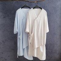 Spliced Vintage Unregular Loose Women Open Blouse 2017 Summer Ladies Tees O Neck Three Quarter Sleeve