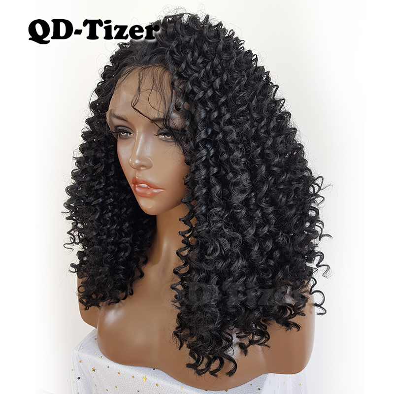 QD Tizer Black Curly Hair Lace Front Wigs 180 Density Heat Resistant Synthetic Lace Front Wigs