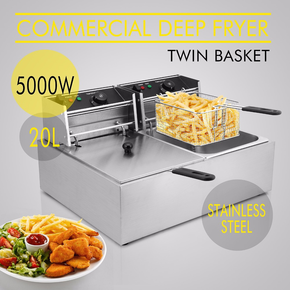 Deep Fryer Twin Basket 5000W 20L Electric Commercial Deep Fryer Twin Basket Steel Benchtop Kitchen Tool 16 liter commercial deep fryer