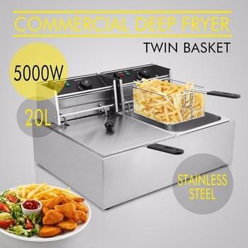 Deep Fryer Twin Basket 5000W 20L Electric Commercial Deep Fryer Twin Basket Steel Benchtop Kitchen Tool