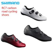 Shimano RC7 węgla droga rowerowa kolarstwo buty rowerowe SH-RC701 darmowa wysyłka tanie tanio Skóra Średnie (b m) Gumką Dla dorosłych Pasuje prawda na wymiar weź swój normalny rozmiar Oddychające Z włókna węglowego