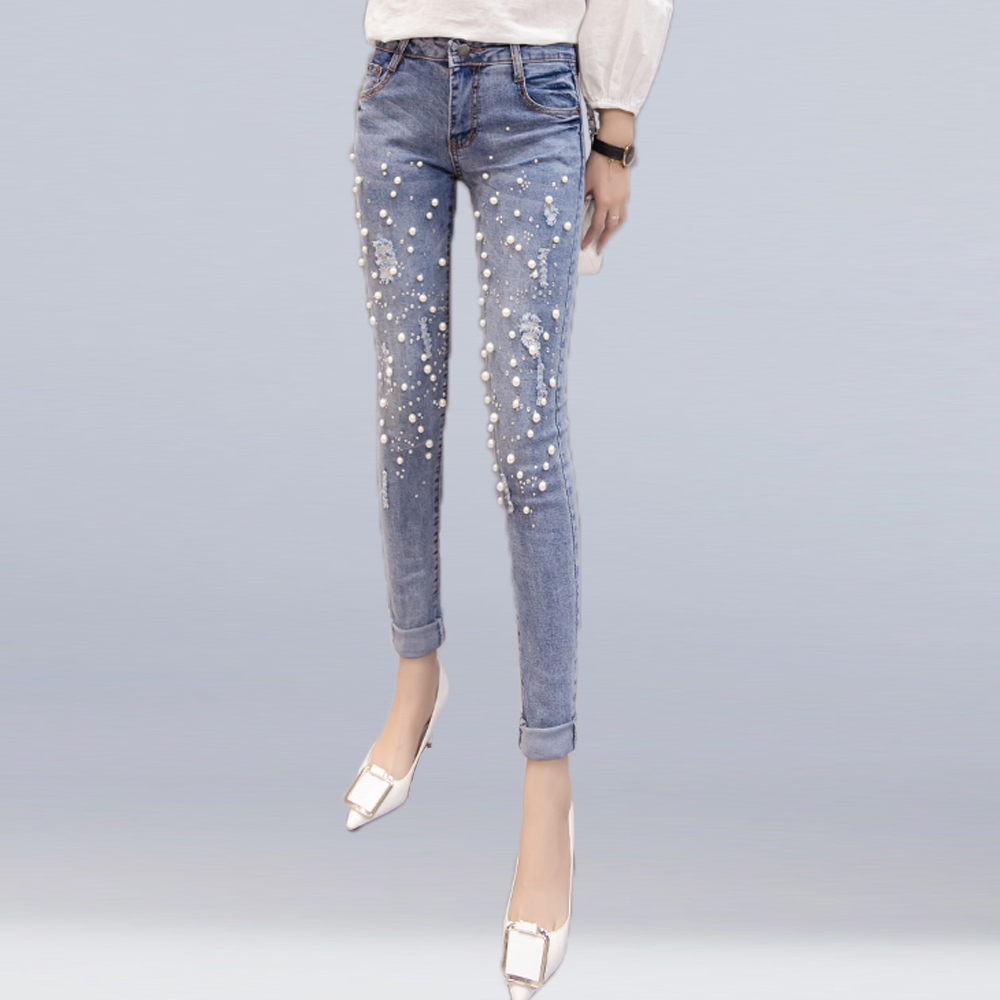 Women New Casual Jeans Slim Stretch Denim Pencil Pants Sexy Hole Ripped Beaded Jeans Vintage Worn Cotton Denim Bottoms Feminino