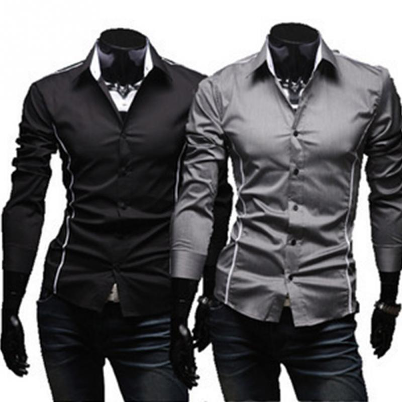 acc24b4f 2019 Hot Selling Korean Style Men Fashion Topstitching Style Slim Shirt Male  Pure Color Business Long-Sleeve Casual Shirt