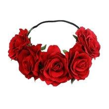 Bohemia Handmade kwiatowa opaska duża róża kwiat Hairhead akcesoria kobiety dziewczęta Bridemaids wianek peruki imprezowe ozdoby kwiatowe
