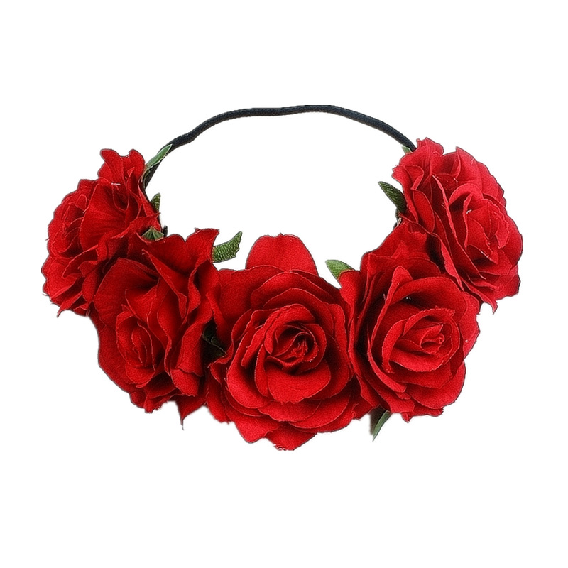 Bohemia hecha a mano diadema Floral grande Rosa flor cabeza de pelo accesorios mujeres niñas novias corona fiesta adornos para el cabello Floral
