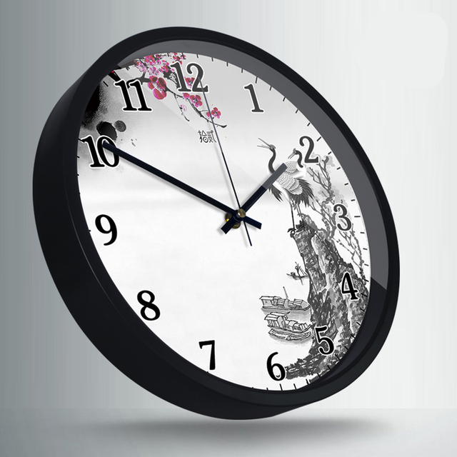 Traditional Chinese  wall clock Mute clock Creative personality Quartz watch  Animal Village Mountain Ink painting decoration