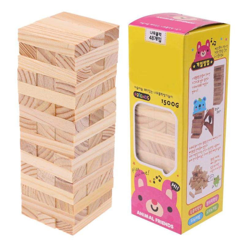 48pcs/set DIY Tower Wood Assembled Building Blocks Toy for Kids Family Game Domino Stacker Extract Building Educational Toy Gift