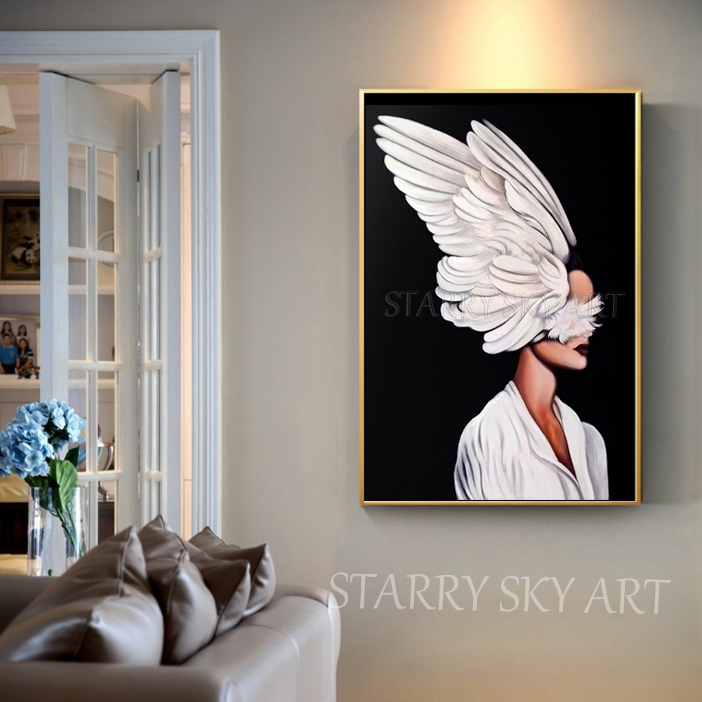 Gifted Artist Hand painted Black Background Beautiful Lady with Wings Oil Painting on Canvas Modern Fine Art for Wall Decoration in Painting Calligraphy from Home Garden