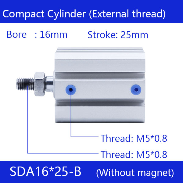 SDA16*25-B, 16mm Bore 25mm Stroke External thread Compact Air Cylinders  Dual Action Air Pneumatic CylinderSDA16*25-B, 16mm Bore 25mm Stroke External thread Compact Air Cylinders  Dual Action Air Pneumatic Cylinder