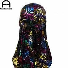 Unisex Print Silky Durags Turban Hat Bandanas Headwear Colorful Circle Printed Men DuRag Long Straps Waves Cap