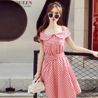 2018 summer dress kawaii online korean dress red plaid bare shoulder dress woman off the shoulder vestidos NN0434 CQ