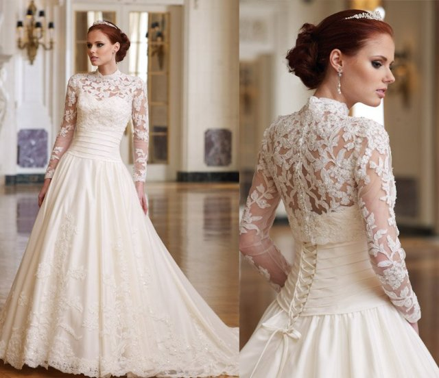 Wedding Gown With Lace: Sweetheart A Line Strapless 2011 Bridal Gown Lace Long