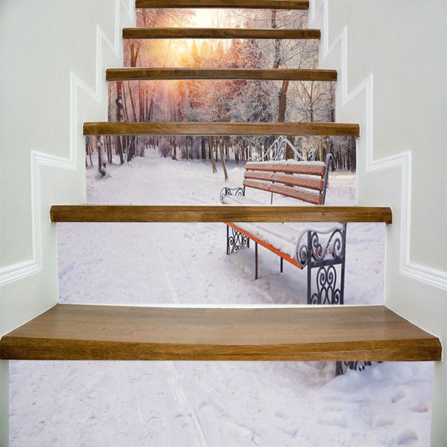 Neige Lanscape hiver forêt parc banc 3D escalier mur autocollants ...