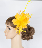Perfct color sinamay fascinator headwear feather flower colorful mesh race show hair accessories millinery cocktail hat MYQ078