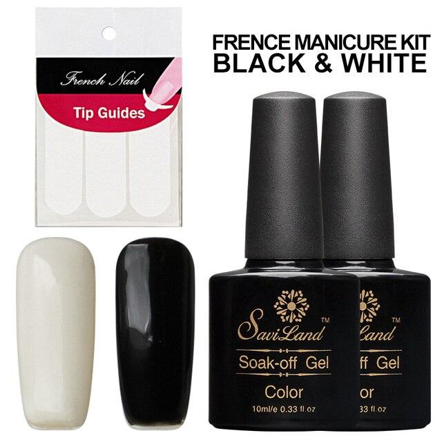 Saviland 2pcs 10ml Black White Color Lak Soak Off UV Gel Nail Polish ...