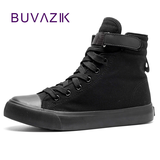 7973bbf5a360 Spring summer 2018 men canvas shoes leisure all black high top shoe man  fashion color hight cut footwear black free shipping