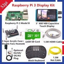 52Pi Raspberry Pi 3 Model B Kit with 5inch 800*480 Capacitive Touch Display Monitor+32GB Card+5V 2.5A EU/US/UK/AU Power+Keyboard