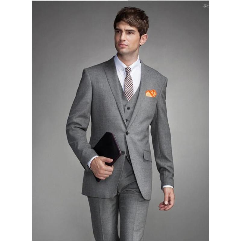 139 New Style Custom made Light GREY Mens Wedding Suits Slim Fit Wedding Groom Tuxedos For Men Suits Bridegroom(Jacket+Pants+Vest) M691