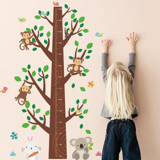 140*95 cm Dschungel Affen Baum Kinder Höhenlehre DIY Wandaufkleber ...