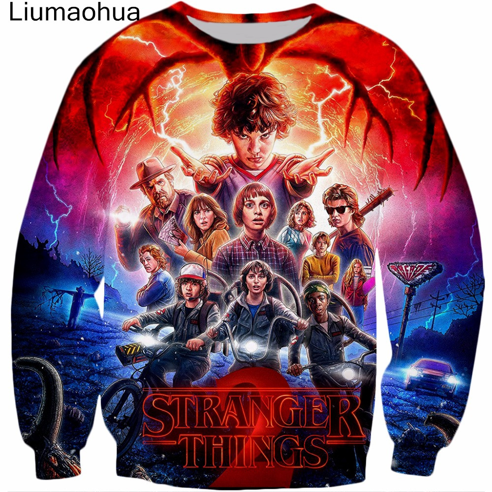 Liumaohua 2018 New Men And Women Round Neck Pullover Men's Hoodie Hot Spots Strange Things Print Three-dimensional Sweatshirt