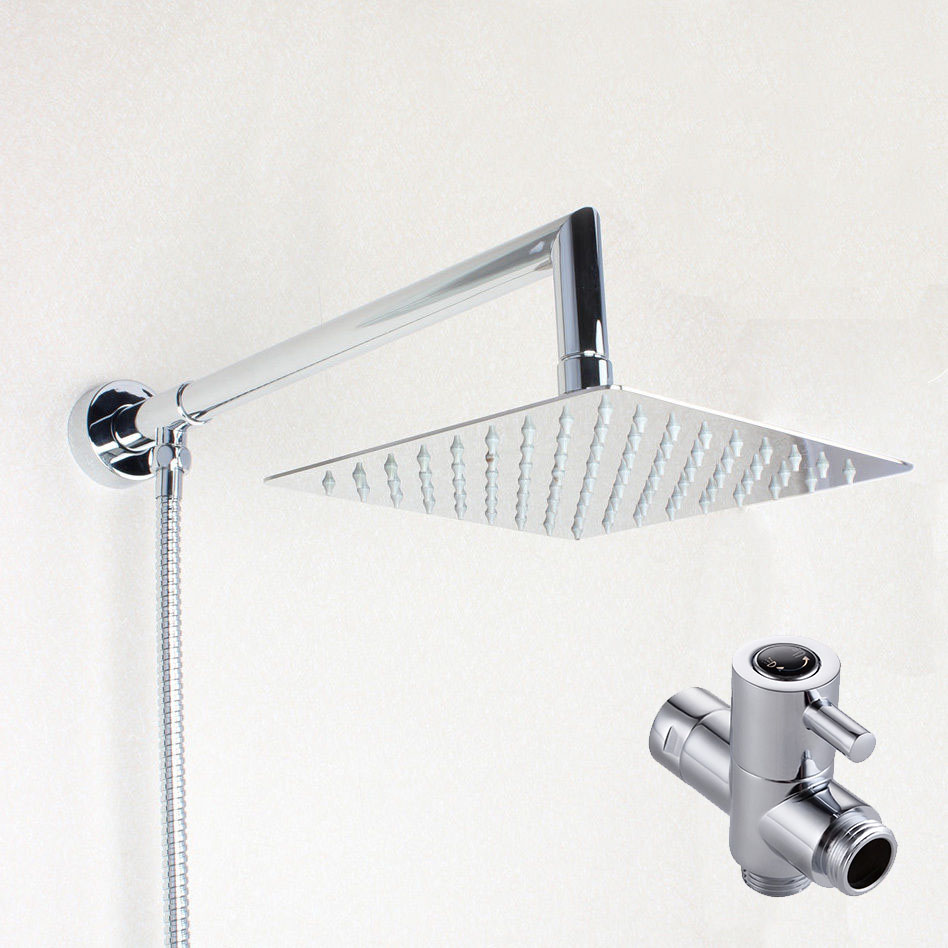 8 Inch Square Rainfall Shower Head Extension Shower Arm Bottom Entry