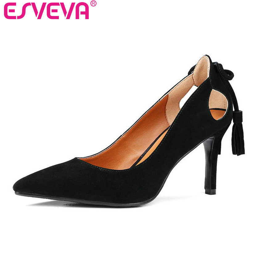 ESVEVA 2017 New High Heel Women Pumps Genuine Leather OL Shoes Western Style Slip on Pointed Toe Pumps Wedding Shoes Size 34-39 vinlle 2017 women pumps college style square med heel vintage slip on pu leather shoes casual round toe girl shoes size 34 40
