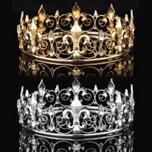 Golden/Silver Wedding Bridal Crystal Tiara Crown King Queen Pageant Prom Rhinestone Veil Tiara Headband Wedding Hair Jewelry