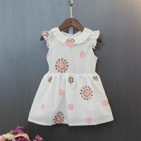 Girl White Summer Dress Cotton Embroidery Sun Flower Ruffle Sleeves Dresses For Girls New Design Size