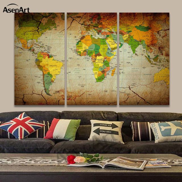 3 Panel Vintage World Maps Canvas Print Wall Pictures For Living