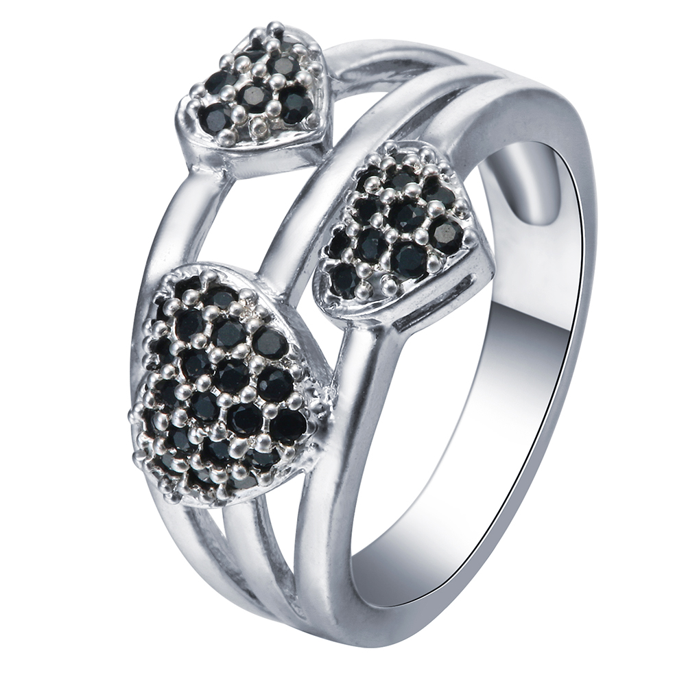 New Black Cz Setting Love Rings Jewelry 3 Heart For Lover Princess Cubic  Zircon Finger Women