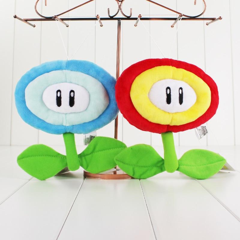 2 Style 17 CM Super Mario Bros Ice Flower Fire Flower Plush Stuffed Dolls soft Plush Toys