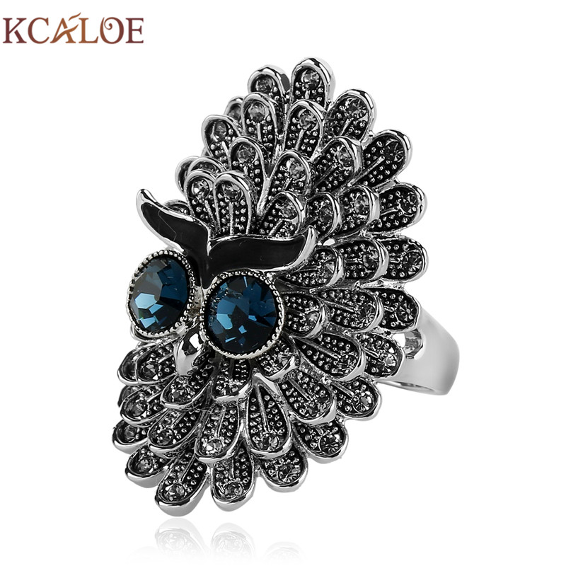 KCALOE Antique Big Rings For Women Luxury Cubic Zirconia Rhinestone Silver Plated Biker Animal Ring Fashion Jewelry Anello