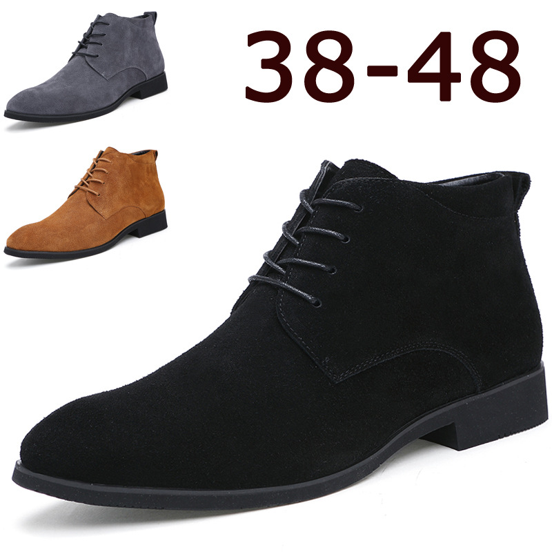 Ankle Boots For Men Business Chukka Mens Boots High Top Casual Shoes Outdoor Leather Mens Winter Shoes Male Black Grey